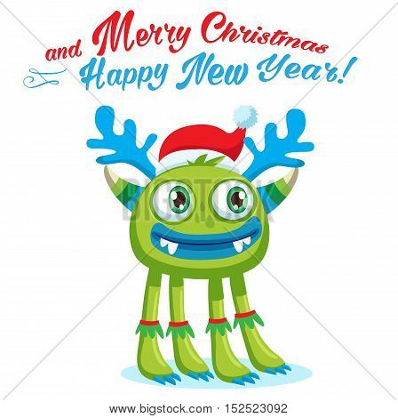 Green Christmas Monster Vector Card. Holiday Cartoon Mascot. Merry Christmas Happy New Year Congratulation Decoration Design Element. Good For Xmas Card Banner.