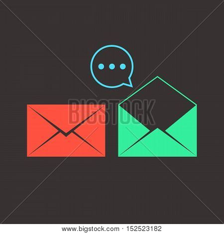 colored opened and closed letters with speech bubble. concept of e-commerce, service, inbox, promotion, analytics sms, spam. isolated on dark background. flat style modern design vector illustration