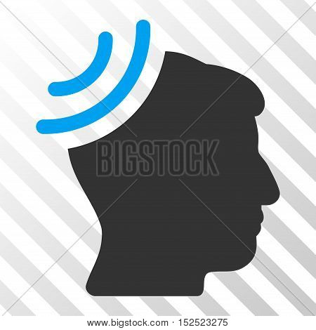 Blue And Gray Radio Reception Brain toolbar pictogram. Vector pictograph style is a flat bicolor symbol on diagonal hatch transparent background.