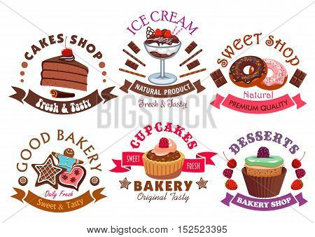 Pastry shop and cafe sign set with cake, cupcake, donut, ice cream dessert, muffin and gingerbread, decorated by chocolate, cream, fruit, glaze and ribbon banners with stars