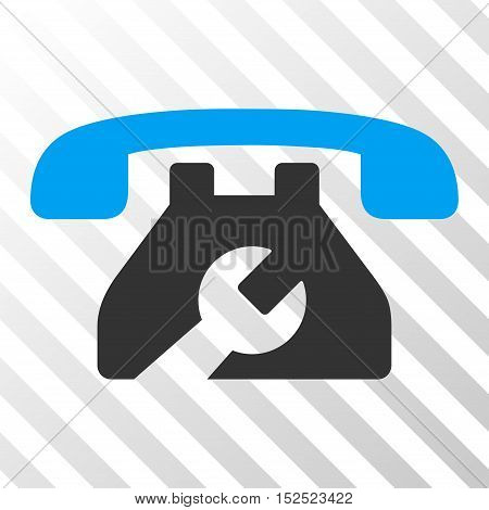 Blue And Gray Repair Service Phone interface toolbar icon. Vector pictogram style is a flat bicolor symbol on diagonal hatch transparent background.