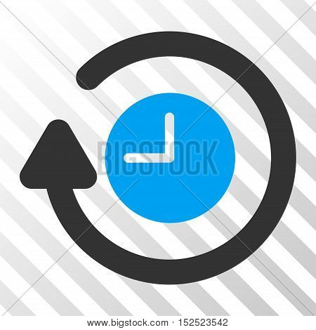 Blue And Gray Repeat Clock interface toolbar icon. Vector pictogram style is a flat bicolor symbol on diagonal hatch transparent background.