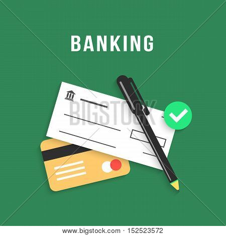 banking with charge card and bank check. concept of repay debt, ecommerce, transaction, economy, budget, savings. isolated on green background. flat style trendy modern design vector illustration
