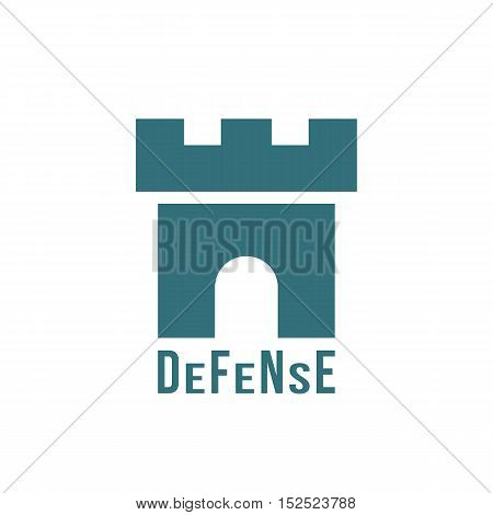 defense logotype with fortress icon. concept of fairytale, monument, historical residence, citadel, protective structure, security company. flat style trendy modern brand design vector illustration