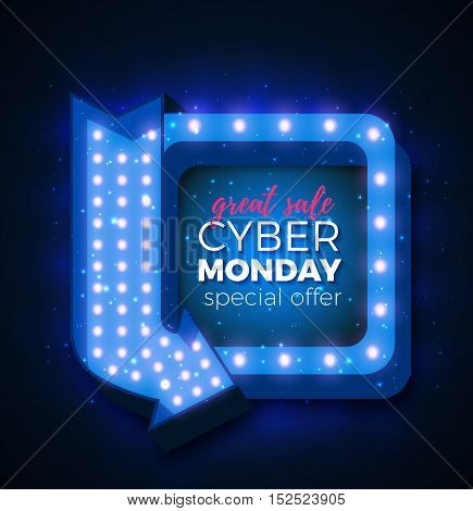 Cyber Monday sale retro light frame with arrow glowing bulbs. Vector background design template for sale and discount, business, advertisement, promotion, brochure, banner, presentation.