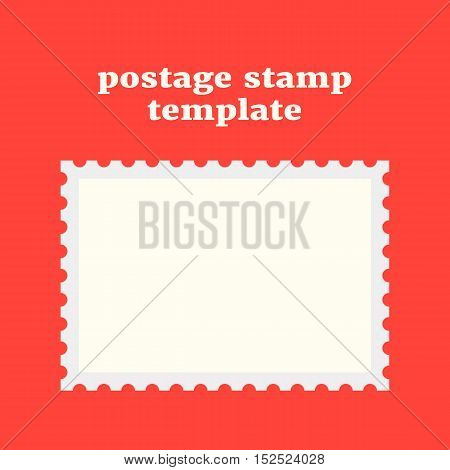 postage stamp template on red background. concept of message, indentation, cardboard, stationery, poststamp, backdrop, post-office. flat style trendy modern design vector illustration