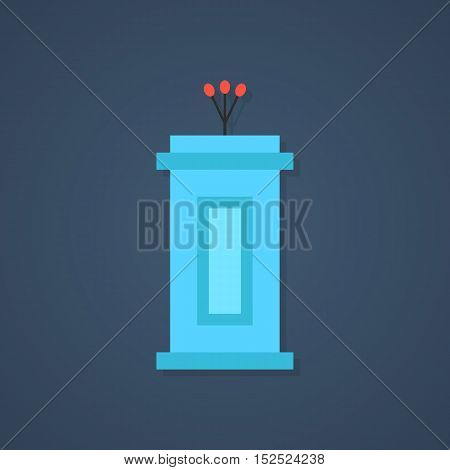 blue tribune icon with shadow. concept of political, event, lecturer, interview, broadcaster, narrator, journalism, voting. flat style trendy modern design vector illustration