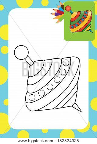 Coloring book. Humming-top, whirligig - vector illustration