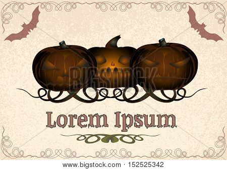 three bronze pumpkin with a grin on the old parchment. template. vector illustration on the theme of Halloween