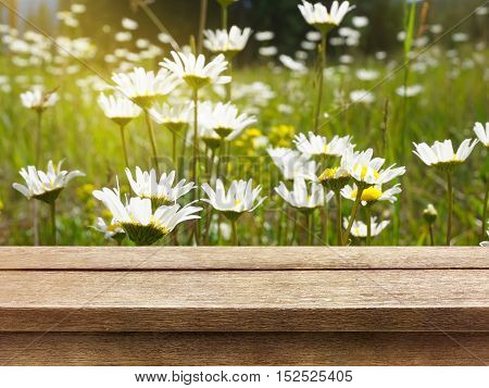 old wood table top on beautiful nature background