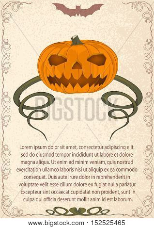 old invitation card for Halloween. evil pumpkin with long processes. an old parchment. vector illustration