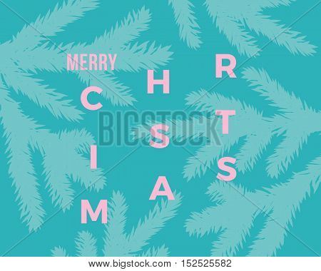 Merry Christmas Abstract Vector Classy Card. Modern Typography Concept. Pink on Mint Background