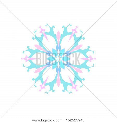 Snowflake Isolated on White Background, Merry Christmas and Happy New Year, Christmas Decoration, Vector Illustration