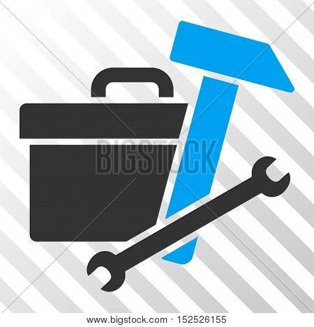 Blue And Gray Toolbox interface toolbar icon. Vector pictograph style is a flat bicolor symbol on diagonal hatch transparent background.