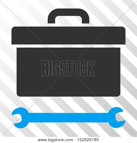 Blue And Gray Toolbox interface icon. Vector pictogram style is a flat bicolor symbol on diagonal hatch transparent background.