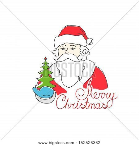 Santa Claus Holds in a Hand Green Christmas Tree, Merry Christmas and Happy New Year, Noel Isolated on White Background, Vector Illustration