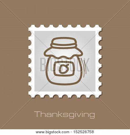 Jam jar stamp. Harvest. Thanksgiving vector illustration eps 10