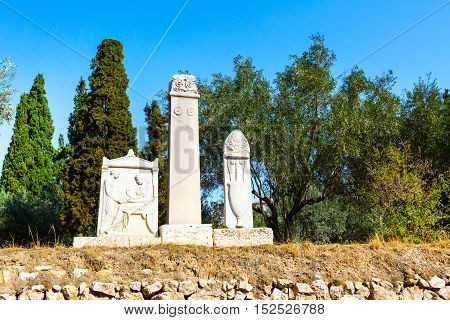 Ruins and monuments in ancient Kerameikos district in Athens, Greece
