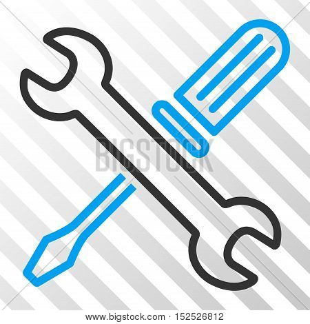 Blue And Gray Tuning Tools interface pictogram. Vector pictograph style is a flat bicolor symbol on diagonal hatch transparent background.