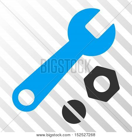 Blue And Gray Wrench and Nuts interface pictogram. Vector pictogram style is a flat bicolor symbol on diagonal hatch transparent background.