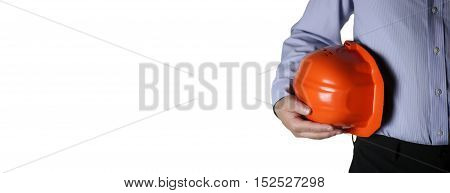 builder man in suit with helmet closeup empty place for your text