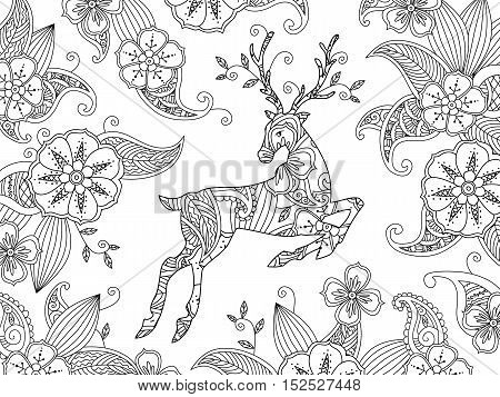Coloring page with running deer and floral background. Horizontal composition. Good quality coloring book for adult and children. Editable vector illustration.