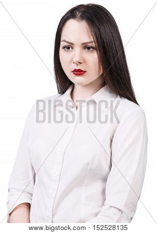 Young beautiful upset woman isolated over white background