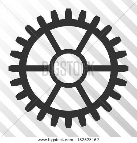 Gray Clock Wheel toolbar icon. Vector pictogram style is a flat symbol on diagonal hatch transparent background.