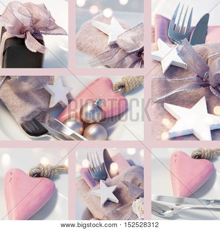 Collage Table decorations in pastel colors with stars and a heart for Christmas and New Year
