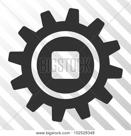 Gray Cog toolbar icon. Vector pictogram style is a flat symbol on diagonal hatch transparent background.