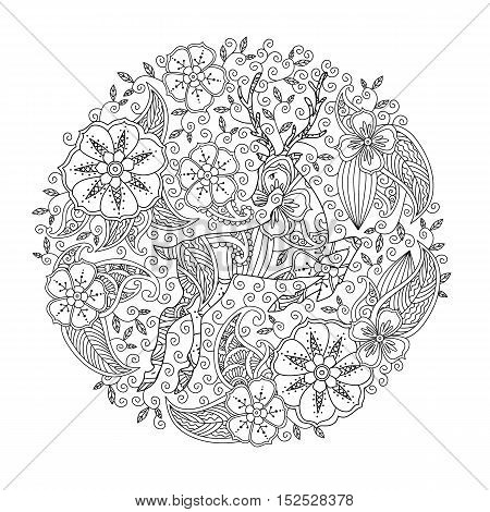 Coloring page with running deer and floral circle. Good quality coloring book for adult and children. Editable vector illustration.