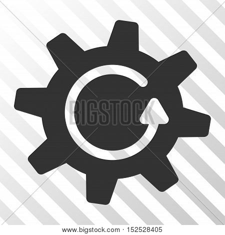 Gray Cogwheel Rotation Direction interface pictogram. Vector pictograph style is a flat symbol on diagonal hatch transparent background.