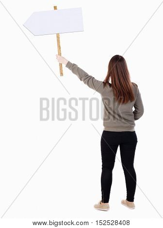 Back view woman showing sign board. man holds information plate. Rear view people collection. backside view person. Isolated over white. Full girl in black tights holding pointer in his hand