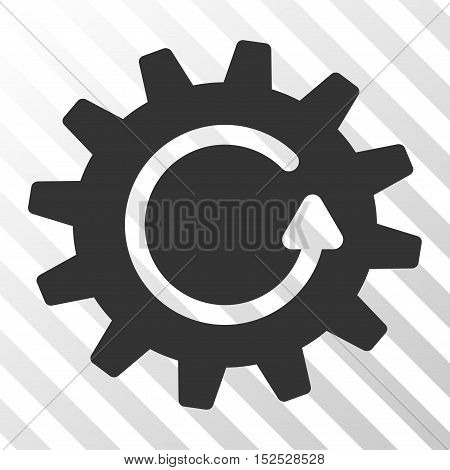 Gray Cogwheel Rotation interface pictogram. Vector pictograph style is a flat symbol on diagonal hatch transparent background.