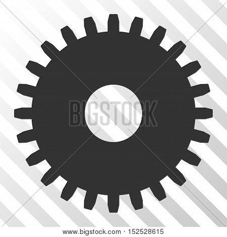 Gray Cogwheel toolbar pictogram. Vector pictograph style is a flat symbol on diagonal hatch transparent background.