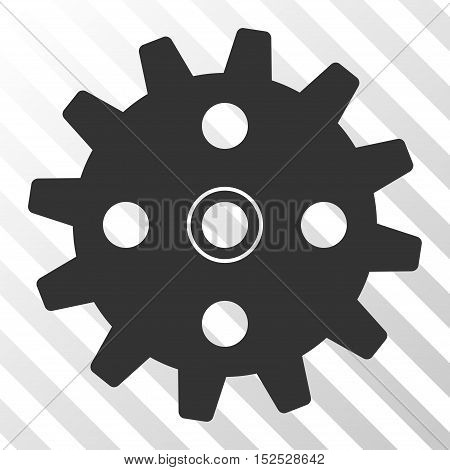 Gray Cogwheel toolbar icon. Vector pictograph style is a flat symbol on diagonal hatch transparent background.