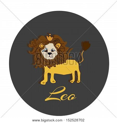 Happy Leo sticker hand drawn illustration of a cute cartoon character isolated on white, vector
