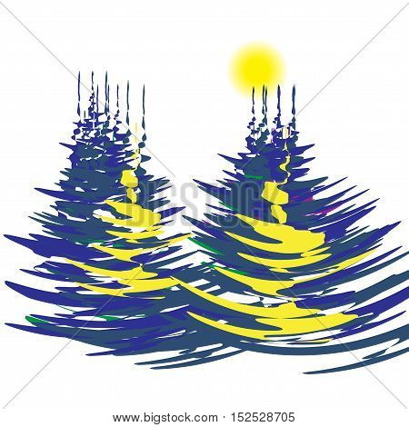 The stylized image of spruce forest on a winter day. Bright sun. Vector illustration