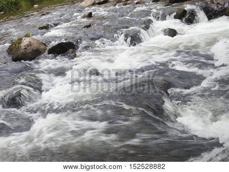 Boiling water over boulders in Wilson Creek in North Carolina