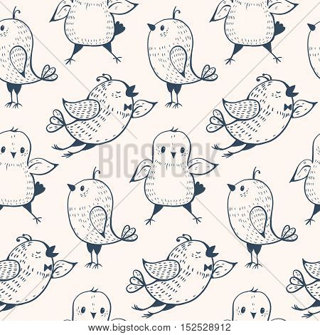 Monochrome seamless pattern with birds in doodle style. Vector illustration.