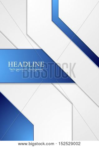Abstract tech corporate blue and grey contrast background. Vector illustration for flyers, brochures, web graphic design