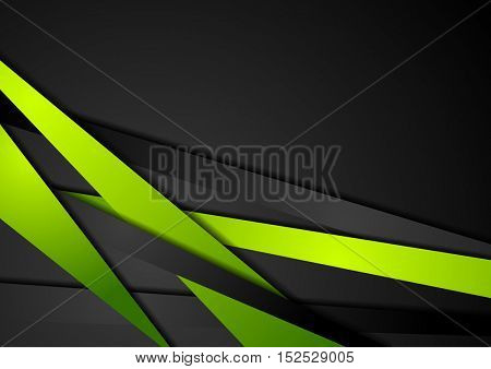 Abstract tech green and black stripes concept design. Corporate vector design