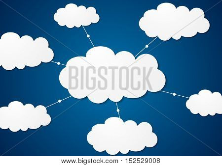 Clouds server communication tech abstract design. Blue concept network vector background