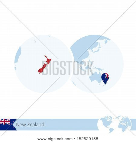 New Zealand On World Globe With Flag And Regional Map Of New Zealand.
