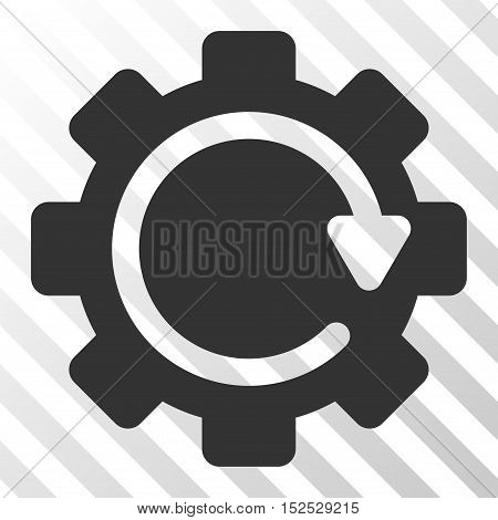 Gray Gear Rotation Direction toolbar pictogram. Vector pictogram style is a flat symbol on diagonal hatch transparent background.