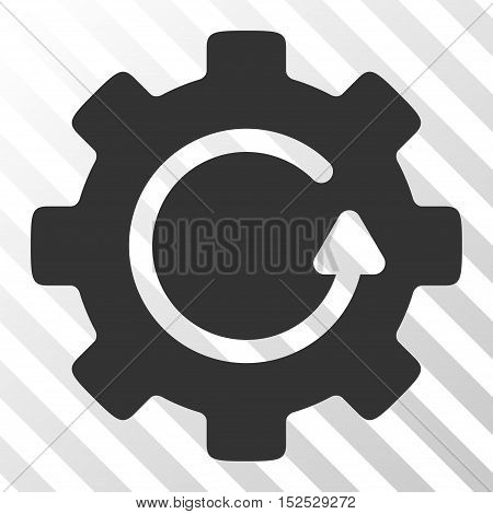 Gray Gear Rotation interface toolbar pictogram. Vector pictogram style is a flat symbol on diagonal hatch transparent background.