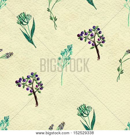 Seamless pattern with berries. Hand painted watercolor background.