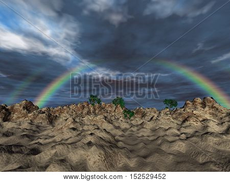 Landscape with rainbow and gray sky, 3D illustration