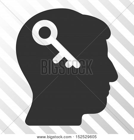 Gray Head Key interface icon. Vector pictograph style is a flat symbol on diagonal hatch transparent background.