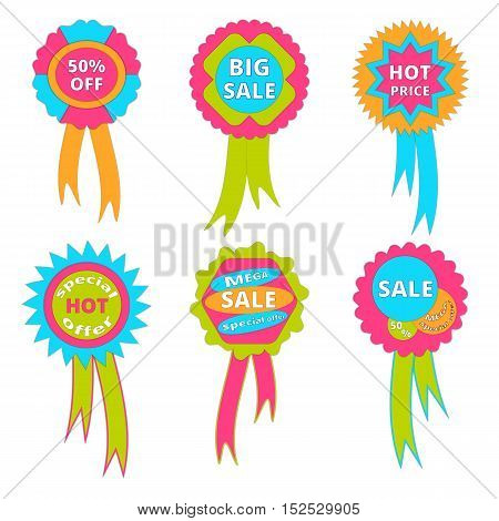 Set of banners with ribbons sale. Vector illustration.